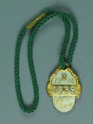 Melbourne Cricket Club restricted membership badge, season 1973/74
