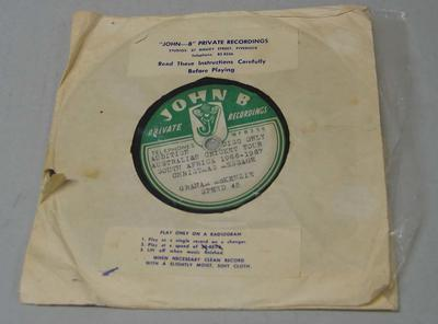 Vinyl record, Graham McKenzie Christmas message - Australian Cricket Tour to South Africa 1966/67