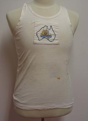 Sleeveless cream coloured rowing singlet worn by Ray Todd.