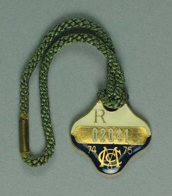 Melbourne Cricket Club restricted membership badge, season 1974/75