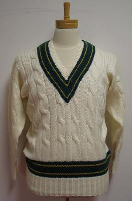 Australian Test jumper worn by cricketer Bill Lawry during 1968.