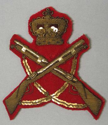 Red bullion badge awarded to William Todd.
