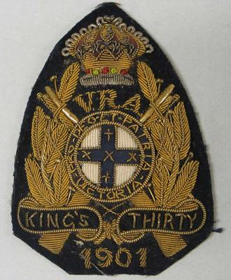 Navy bullion badge - King's Thirty 1901 - awarded to William Todd by the National Rifle Association