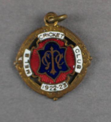 Melbourne Cricket Club membership badge, season 1922/23
