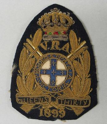 Navy bullion badge - Queen's Thirty 1899 - awarded to William Todd by the National Rifle Association