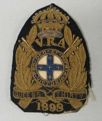 Navy bullion badge - Queen's Thirty 1898 - awarded to William Todd by the National Rifle Association