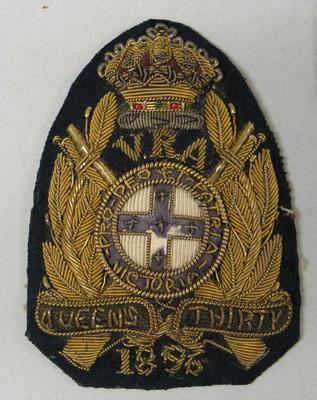 Navy bullion badge - Queen's Thirty 1896 - awarded to William Todd by the National Rifle Association
