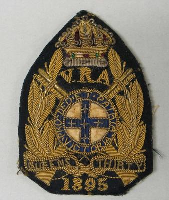 Navy bullion badge - Queen's Thirty 1895 - awarded to William Todd by the National Rifle Association