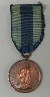 1897 Queen Victoria 60th Anniversary commemorative medal and colours, awarded to William Todd.