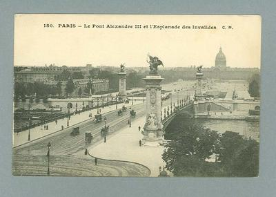 Postcard, image of Paris c1916