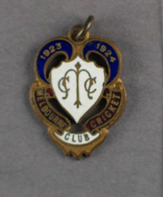 Melbourne Cricket Club membership badge, season 1923/24