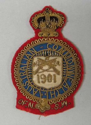 Bullion badge, NRA of NSW, Australian Commonwealth 1901, won by William Todd
