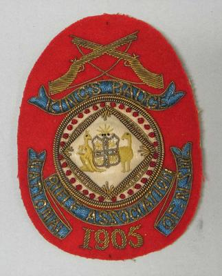Bullion badge - King's Badge - National Rifle Association of NSW 1905, awarded to W. Todd