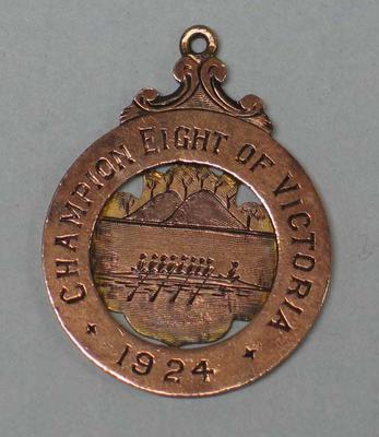 Champion Eight of Victoria medal awarded to rower Ray Todd, Wendouree Rowing Club, 1924; Trophies and awards; M16593.51