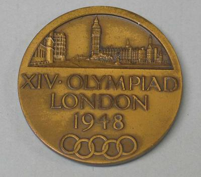 Bronze participation medal for 1948 London Olympic Games, awarded to Ray Todd; Trophies and awards; M16593.55
