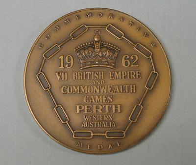 Commemorative medal awarded to Ray Todd, 1962 British Empire and Commonwealth Games; Trophies and awards; M16593.61