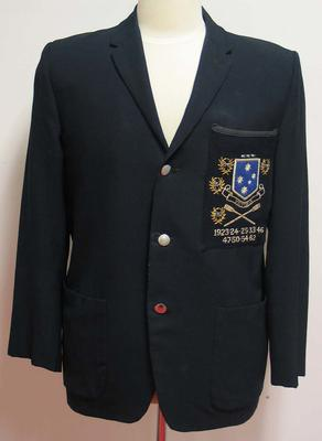 Dark blue Victorian rowing blazer worn by Ray Todd.