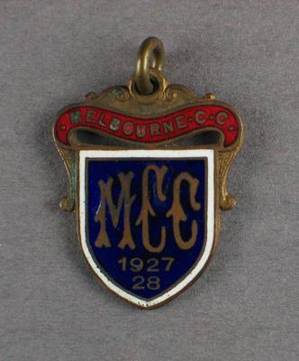 Melbourne Cricket Club membership badge, season 1927/28