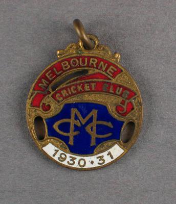 Melbourne Cricket Club country membership badge, season 1930/31