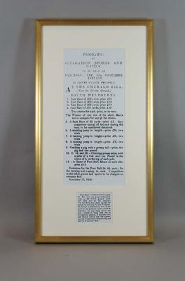 Framed and mounted reproduction of advertisement of the Separation Sports and Games printed in The Argus newspaper 14 November 1850