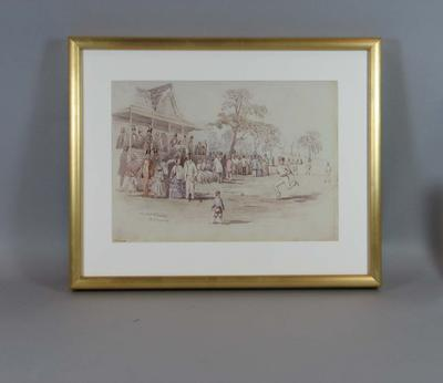 Framed and mounted reproduction of a watercolour by John Black Henderson of the first cricket match between Sydney and Melbourne played on the Richmond (Vic) ground in 1855.