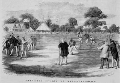 Framed and mounted reproduction of a lithograph (wood engraving), ' ATHLETIC SPORTS AT MELBOURNE', 29 December 1866, by C.T Winter.