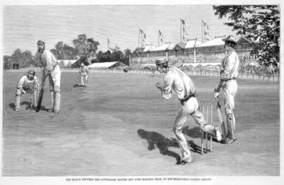 THE MATCH BETWEEN THE AUSTRALIAN ELEVEN AND LORD HARRIS'S TEAM, ON THE MELBOURNE CRICKET GROUND. Framed, black and white photographic reproduction of an engraving by Julian Rossi Ashton