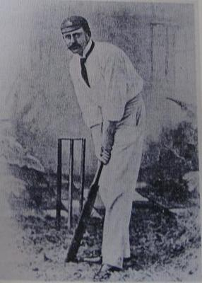 Black and white  reproduction of a photo of Lord Harris at the wicket