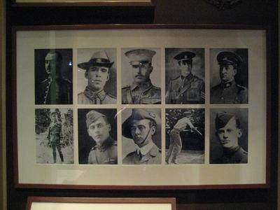 Group of 10 black and white framed, mounted reproduction portrait photos of  MCC Members who served in World War I.