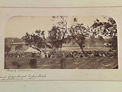 Intercolonial Cricket Match at Melbourne, 1860 - framed and mounted reproduction of an albumen silver photograph by Barnett Johnstone.