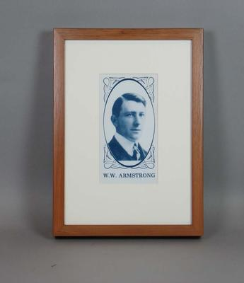 Framed reproduction enlargement of a trade card, depicting portrait of Warwick Armstrong.