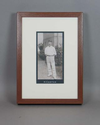Framed reproduction enlargement of a trade card, depicting Hanson (Sammy) Carter