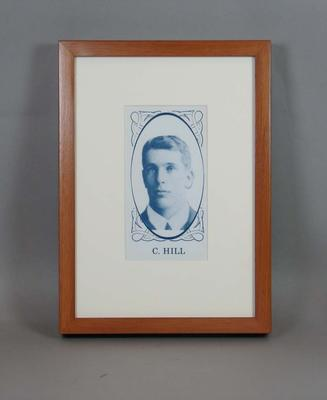 Framed reproduction enlargement of a trade card, depicting portrait of Clement (Clem) Hill