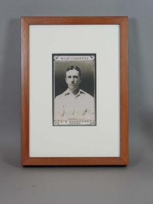 Framed reproduction enlargement of a trade card, depicting portrait of Vernon Ransford