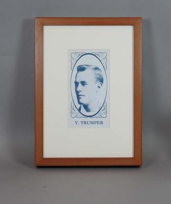 Framed reproduction enlargement of a trade card, depicting portrait of Victor Trumper