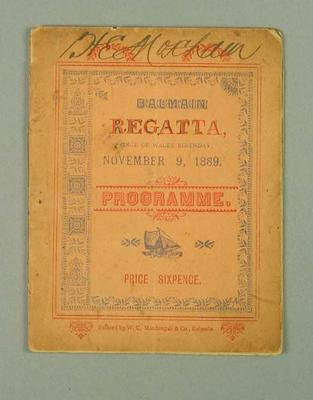 Programme for Balmain Regatta, 9 Nov 1889