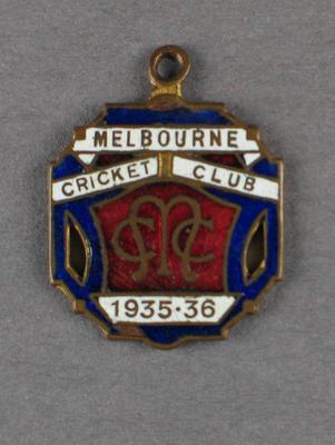 Melbourne Cricket Club membership badge, season 1935-36