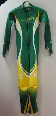 Australian winter Paralympic team uniform speed suit worn by Slalom skier Jessica Gallagher at the 2010 Paralympic Games, Vancouver.