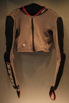 Protective shirt with arm guards worn by Slalom skier Jessica Gallagher at the winter Paralympic Games in Vancouver, 2010.
