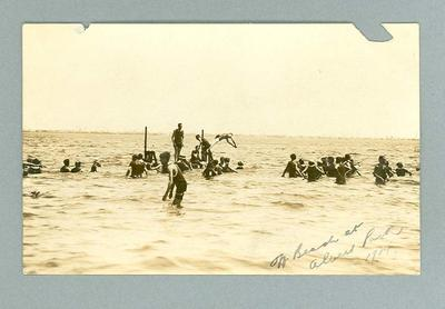 Postcard, image of swimmers off the beach at Albert Park - 1914