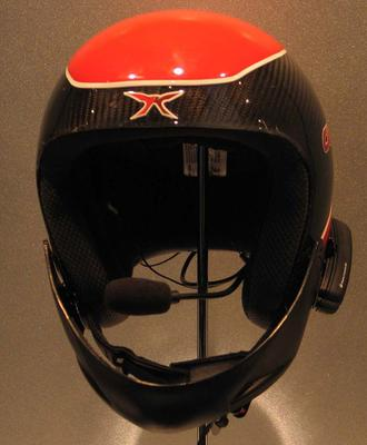 Helmet and communications headset worn by Slalom skier Jessica Gallagher at the 2010 Paralympic Games in Vancouver.