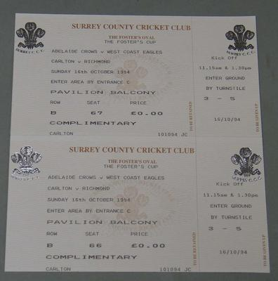 Two (joined) tickets to 'The Foster's Cup' Australian Rules Football Game played in England, issued by the Surrey County Cricket Club, 1994.