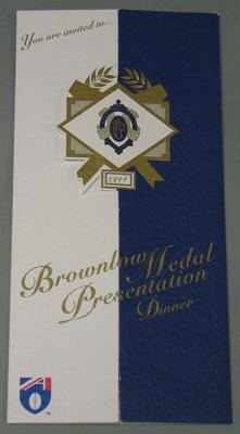Invitation to the 1994 Brownlow Medal Presentation Dinner, issued to Mr & Mrs Stephen Gough.