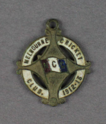 Melbourne Cricket Club membership badge, 1912/13 season