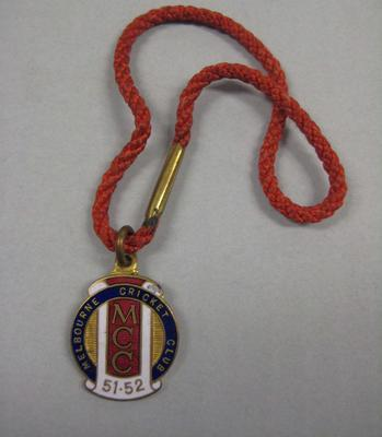 Membership medallion, Melbourne Cricket Club - season 1951/52
