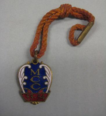 Membership medallion, Melbourne Cricket Club - season 1953/54