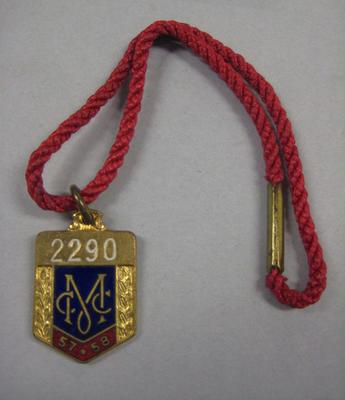 Membership medallion, Melbourne Cricket Club 1957/58