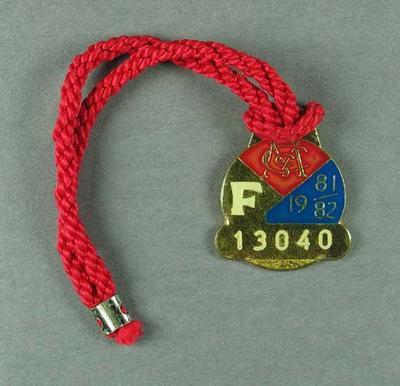 Melbourne Cricket Club membership medallion, season 1981-82