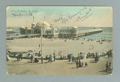 Postcard, image of the Baths at St Kilda