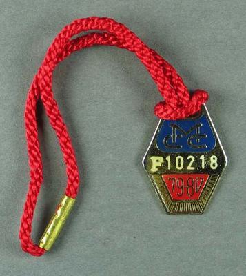 Melbourne Cricket Club membership medallion, season 1979-80